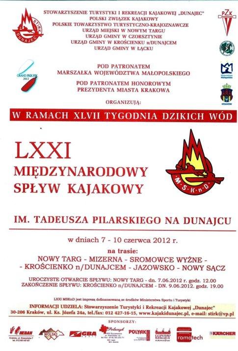 LXXI Międzynarodowy Spływ Kajakowy im. Tadeusza Pilarskiego na Dunajcu